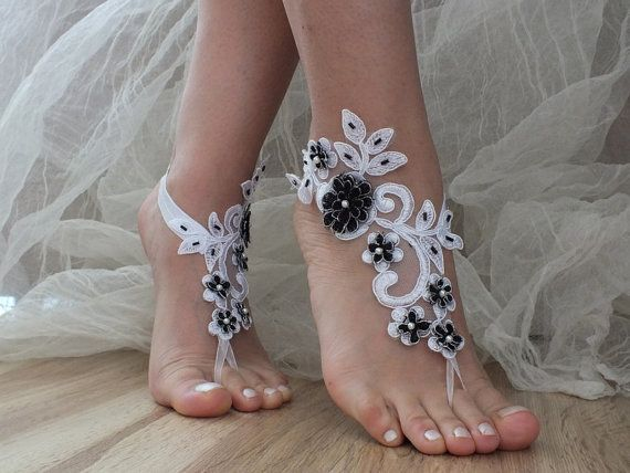Free Ship White Black silver frame lace barefoot sandals Beach wedding barefoot  sandals 9c6d86953aaf