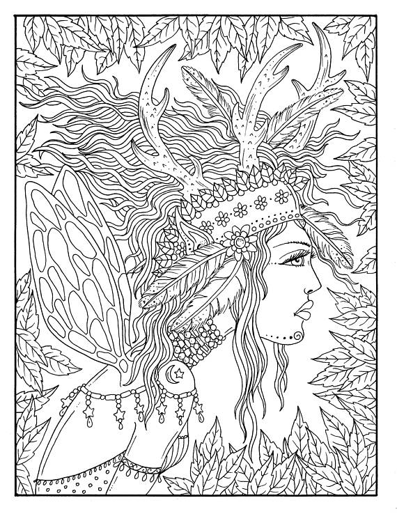 Fairy Hair Digital Coloring page Instant Download Fairies/fantasy ...