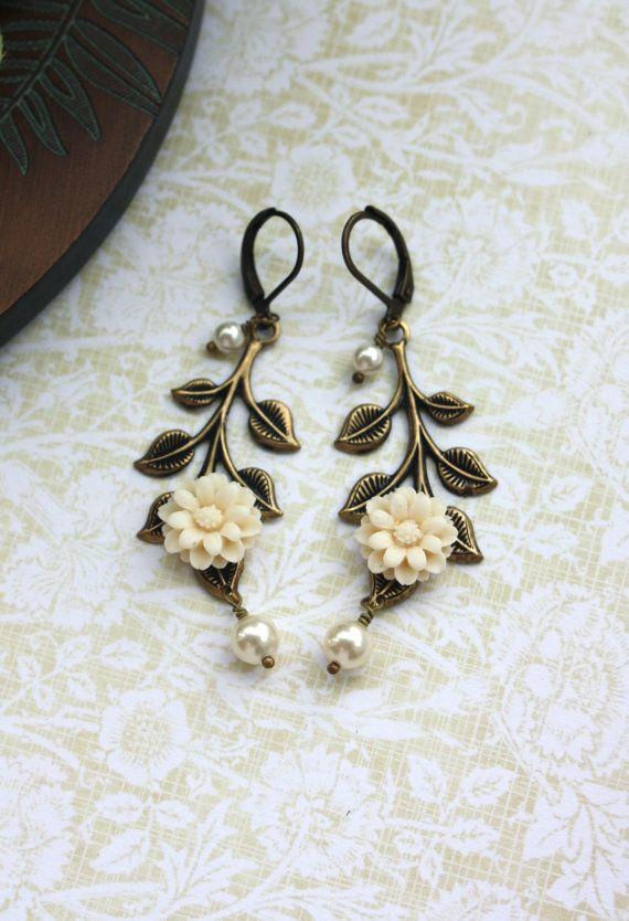 An Ivory Dahlia Flower, Oxidized Brass Leaf,  Cream Ivory Pearls Earrings. Bride. Bridesmaids Earring Gifts. Vintage Wedding
