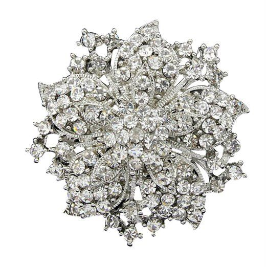 f5f89d1e77a AENMIL Women s Blossom Flower Brooches Pin Sanwood Cluster Crystal  Rhinestones with Shiny Color - White