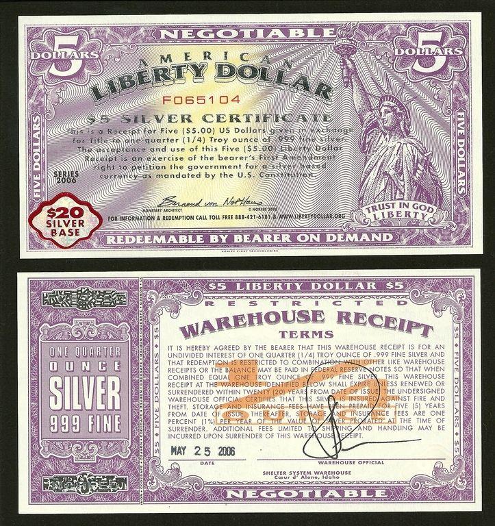 Liberty dollar notas moeda estrangeira dinheiro