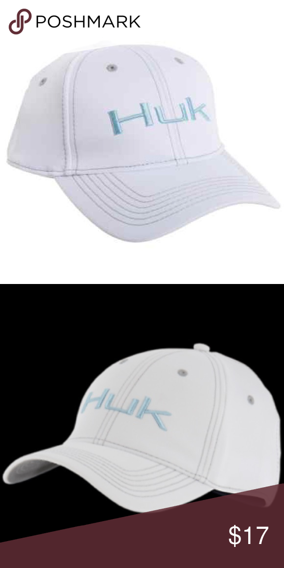 newest b7b4a 088ae NWT Men s Huk Deluxe Tech Stretch Fitted Cap L XL New with tags men s Huk  Deluxe Tech Stretch fitted cap. White with light blue Huk logo and gray  stitching.