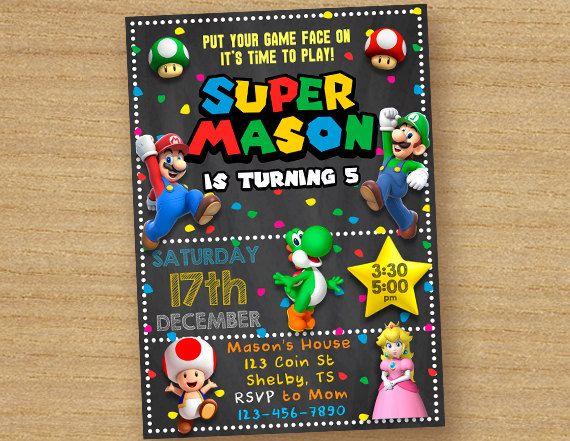 Super Mario Invite Super Mario Brothers Birthday Invitation Custom