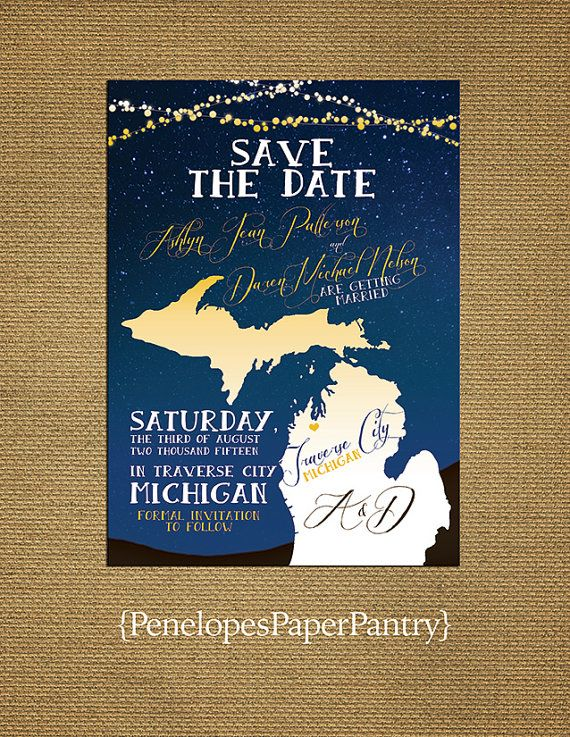 Save The Date Wedding Card, Michigan Summer Night Wedding Summer Night  Theme. Customizable And Includes White Envelopes.