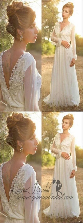 Long sleeve unique casual custom cheap beach wedding dresses wd