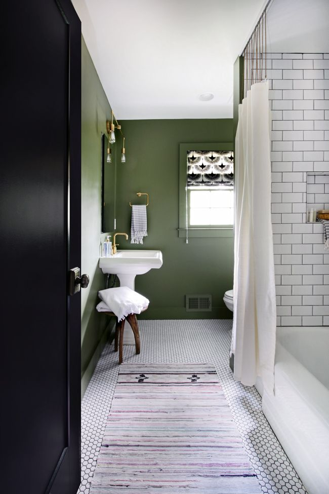 Projectfamjam Bathroom Renovation Hunted Interior Green Bathroom Dark Green Bathrooms Green Bathroom Paint