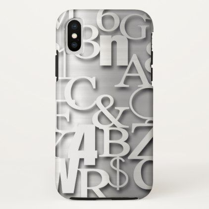 Silver Metallic Letters Numbers  Symbols Iphone X Case  Metallic