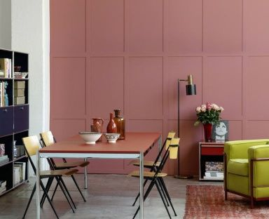 wohnen mit farben wandfarbe rot blau gr n und grau wand in rot farbe und co usm. Black Bedroom Furniture Sets. Home Design Ideas