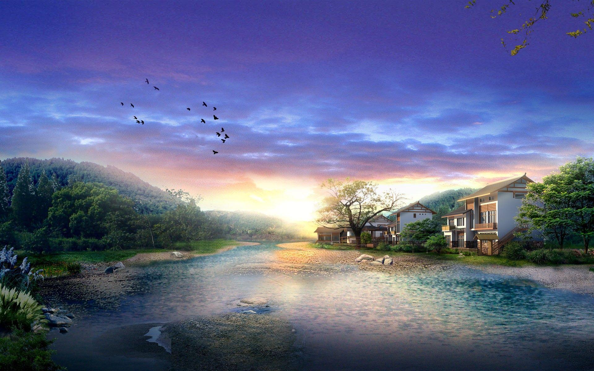 17 Gorgeous Cg Landscapes Of Japan Place 10 Scenery Wallpaper Beautiful Nature Wallpaper Landscape Wallpaper