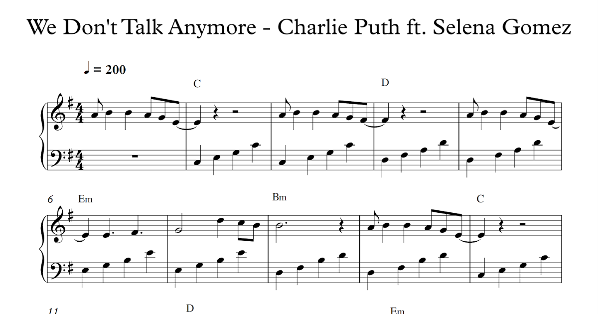 we don t talk anymore piano sheet