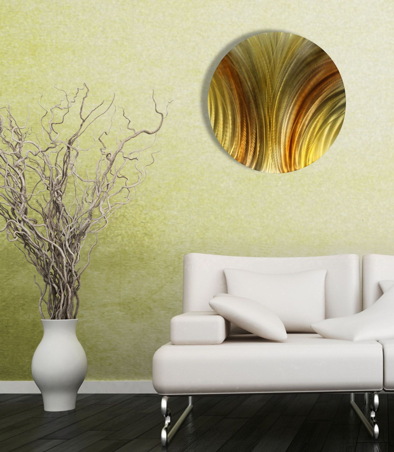 Waves of Grain Amber & Gold Contemporary Round Metal Wall Art Accent ...