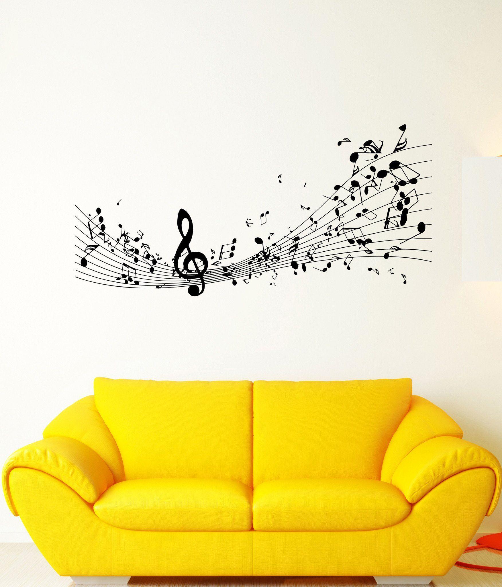 Wall Sticker Vinyl Decal Melody Sound Sheet Music Treble Clef ...