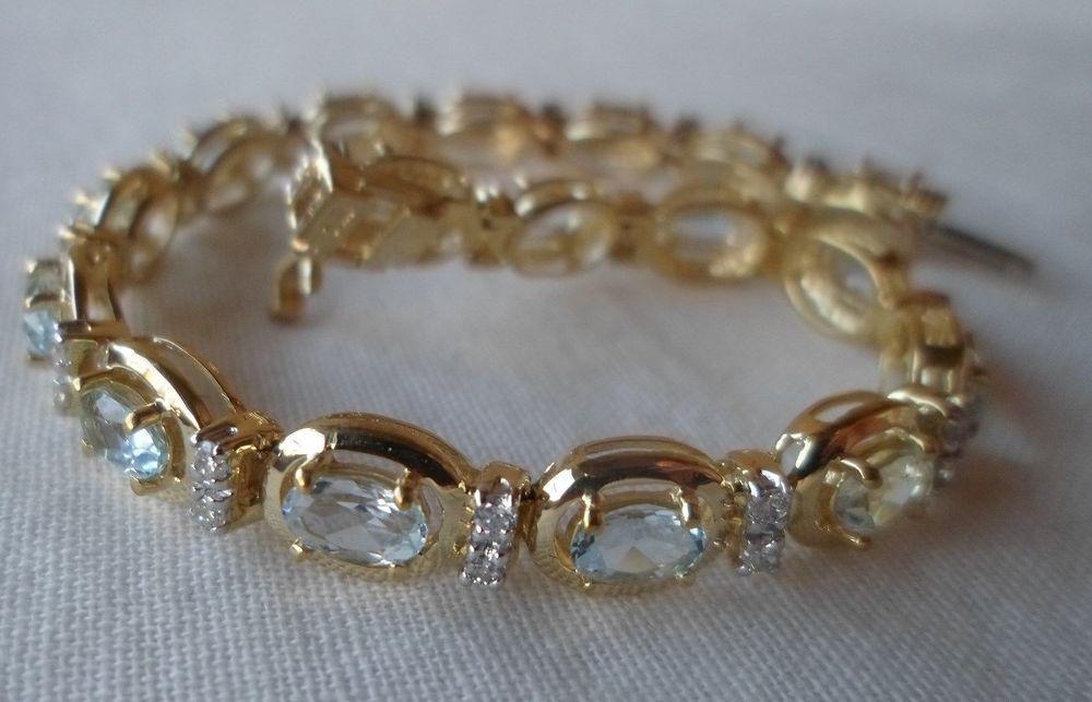14k Yellow Gold Oval Aquamarine Diamond Bracelet 6 25 In 9 4 Grms 3 90 Ctw