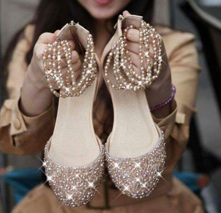 I Want Pearls Flat Wedding Shoes With Bling