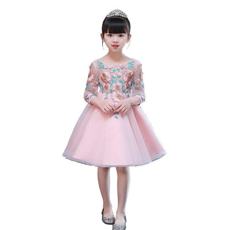 Children s dress pink flower girl princess dress girls dress girl host clothes  piano performance short paragraph A7 466a123af