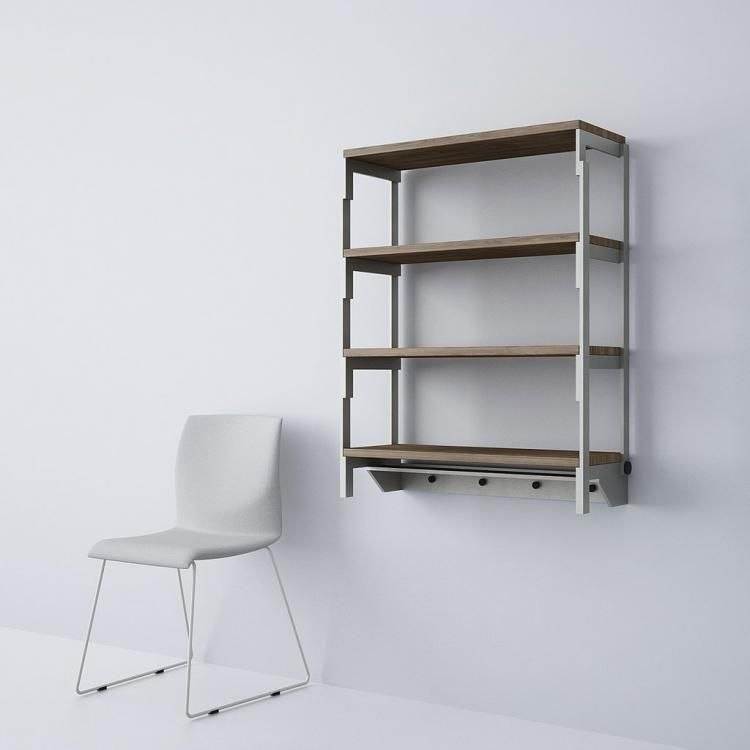 This Shelf Turns Into A Table In Seconds Shelves Wood Shelves Transforming Furniture