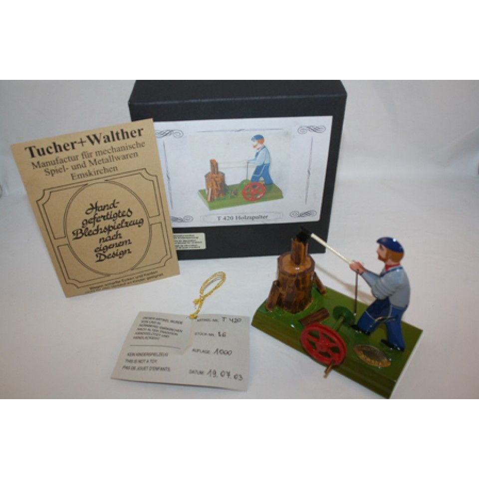 TUCHER WALTHER METAL-TIN GERMAN CHOPPING WOOD IN BOX LIMITED EDITION VERY RARE 1000