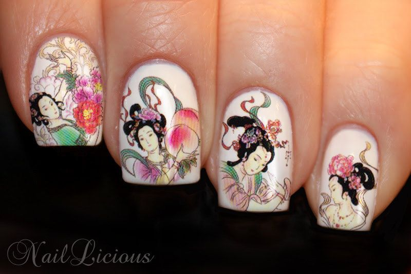 water decals for nails | Japanese Geisha Nail Art Water Transfer Decal by azzai on Etsy