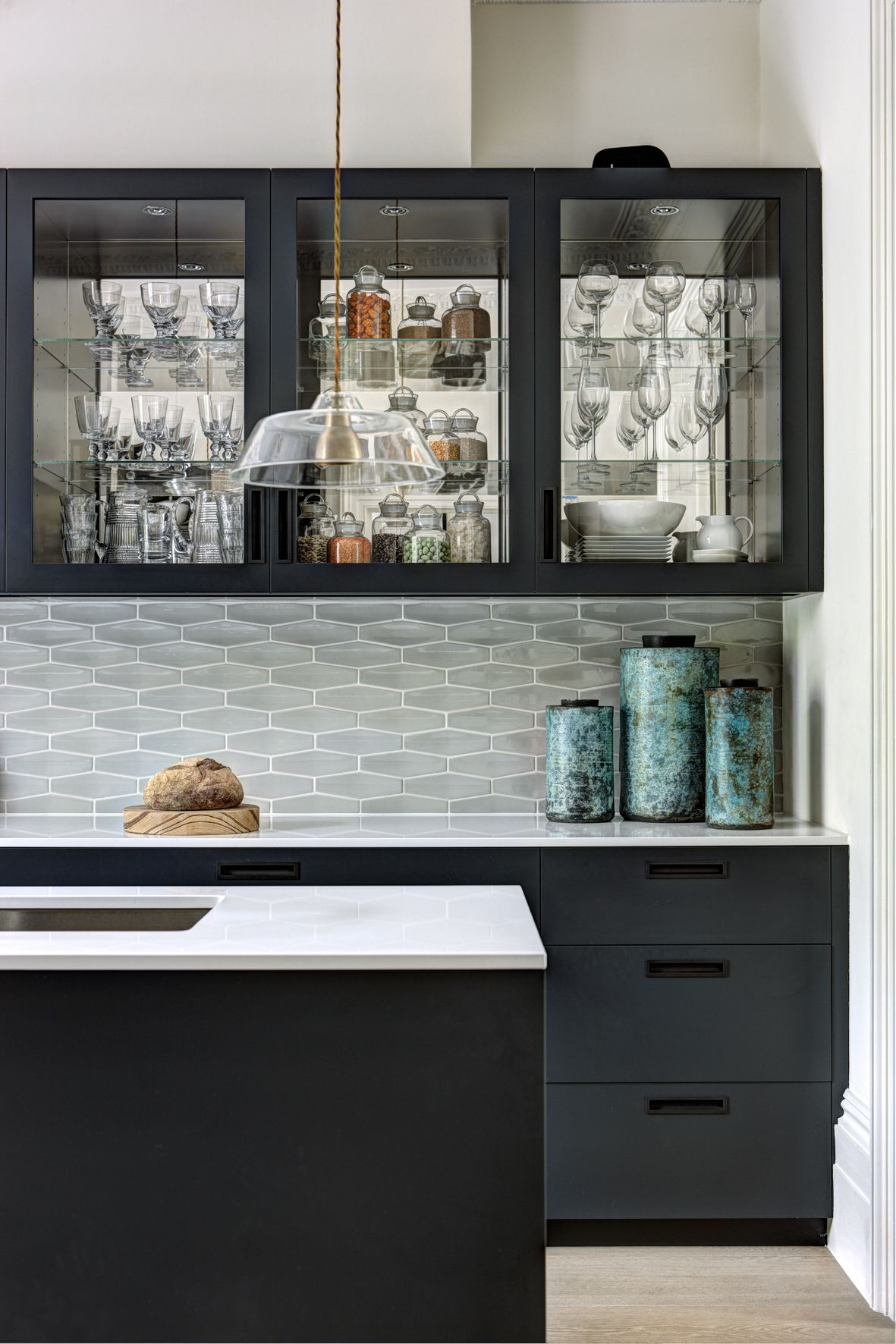 Helen green design kitchen tiles colour of units and worksurface
