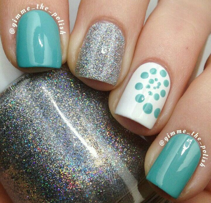turquoise & silver nails nail
