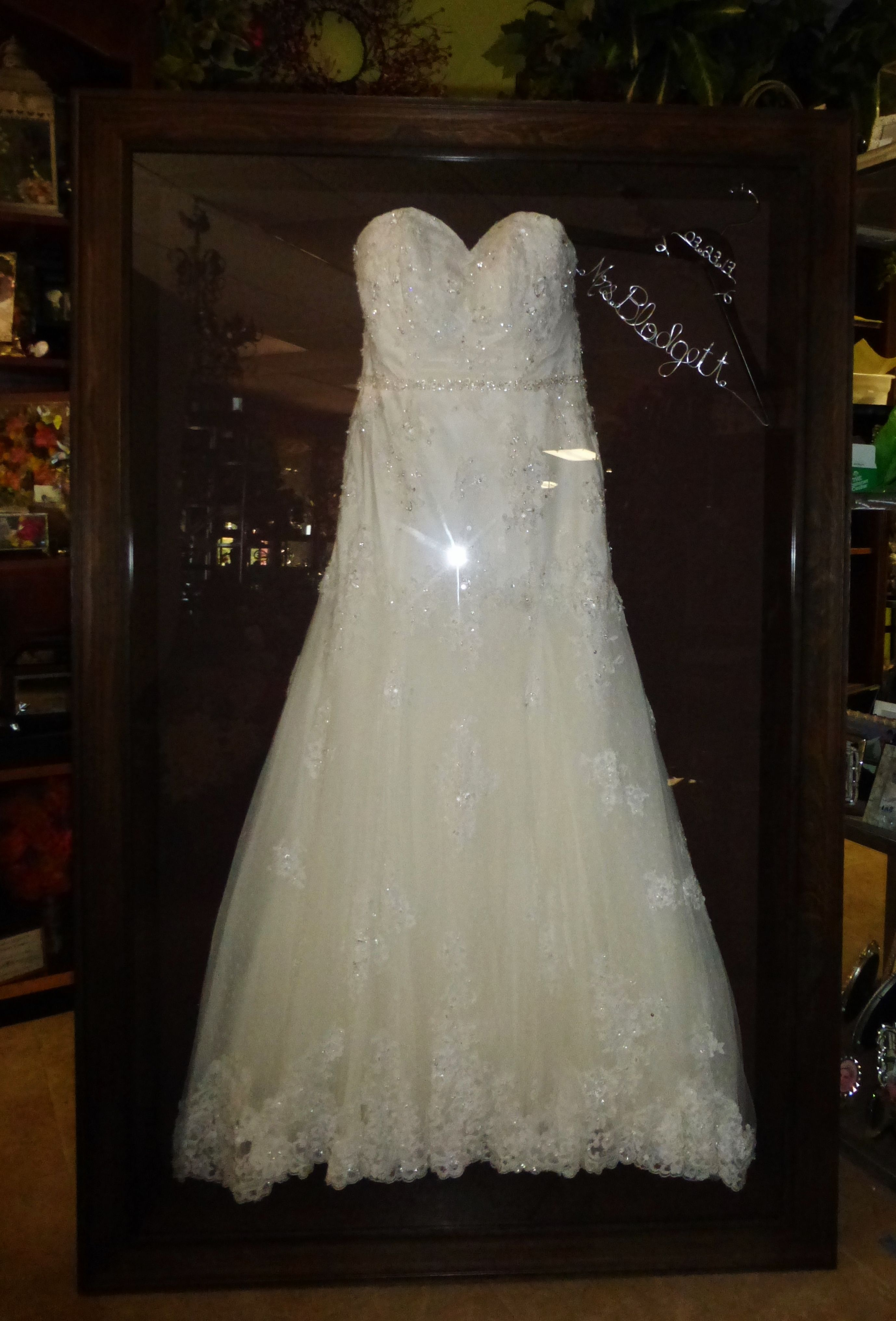 wedding dress storage Framed Wedding Dress by Floral Keepsakes displayed in one of our custom made shadow boxes
