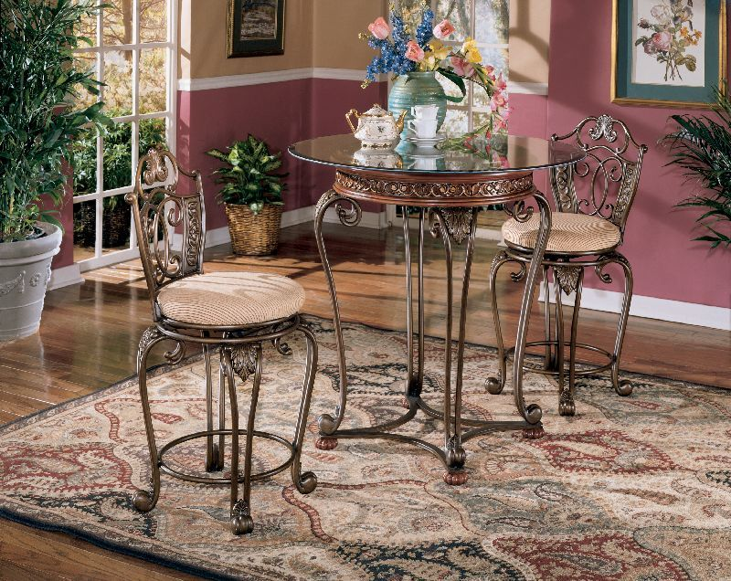 $225.48 Ashley Opulence II Cherry Stain Finish Counter Hght Tbl. The  Scrolling Elegance Of The