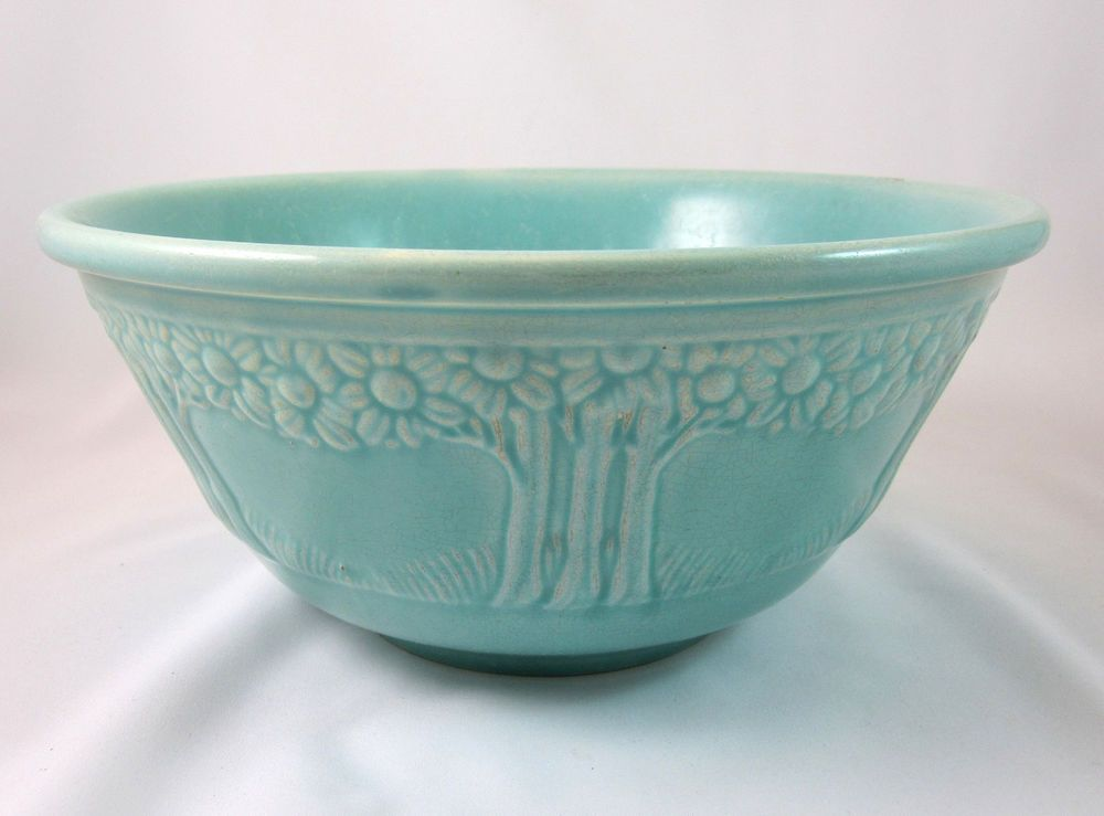 Homer Laughlin Apple Tree Pottery Mixing Bowl Turquoise
