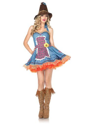2 PC Ladies Sunflower Scarecrow Apron Dress GIRLS CAMP - scarecrow halloween costume ideas