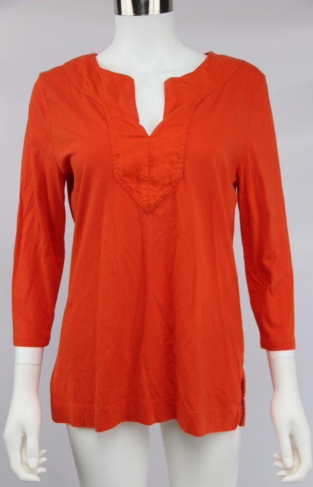 Lauren Ralph Lauren Womens Size Medium Orange 3/4 Sleeve V-Neck Stretch Knit Top #LaurenRalphLauren #KnitTop #Casual