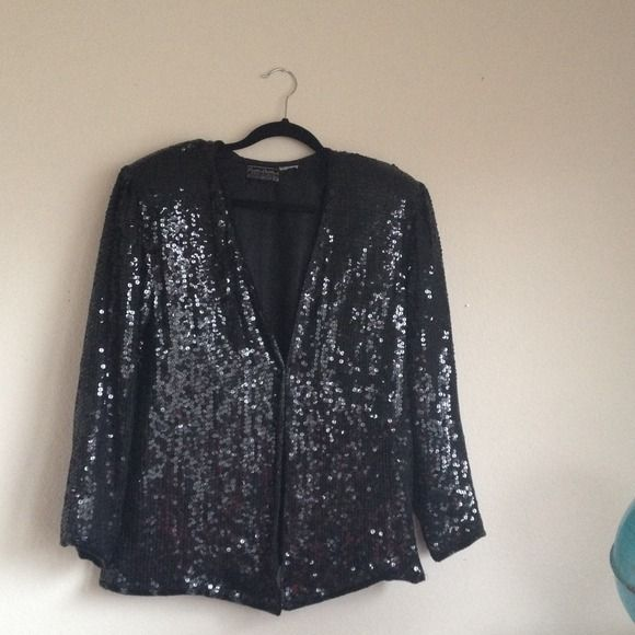 Creative Creations Vintage Sequined Silk Jacket 100% silk. Made in India. Black sequins. In mint condition, probably originally from the 80's. Only flaw is a patch of 3 sequins missing on the back. Has shoulder pads. Beaded around seams. Hook front closure. Says Medium. Will fit large with a more fitted look. Get this designer look for less! Creative Creations Jackets & Coats