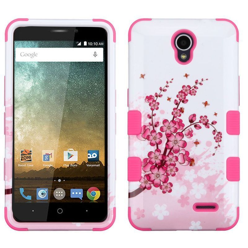 Insten Spring Flowers Hard PC/ Silicone Dual Layer Hybrid Case Cover For ZTE Avid Plus/ Cheers/ Maven 2/ Prestige/ Sonata 3 #2313781