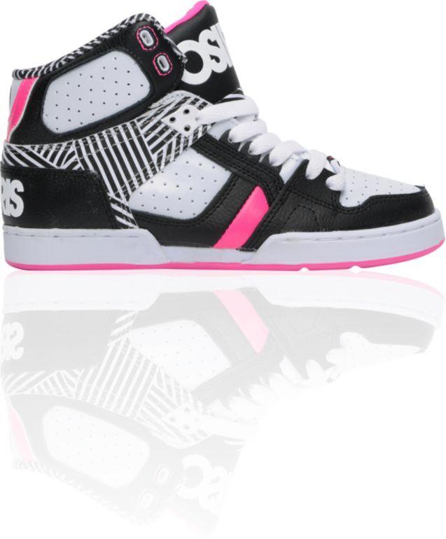 High Tops For Girls | Osiris Girls NYC 83 Slim Black & Pink High Top Shoe at Zumiez : PDP