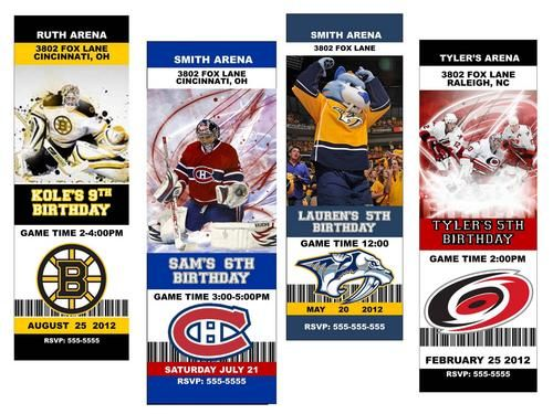 Hockey Ticket Graduation Invitation Nhl Hockey Custom Designed - Free birthday invitation templates hockey