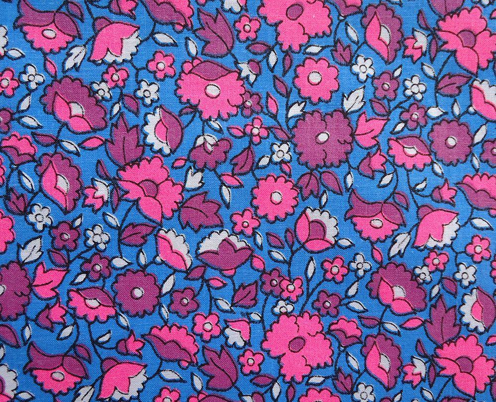 Vintage 60s Fabric Flower Power Retro Little Bright