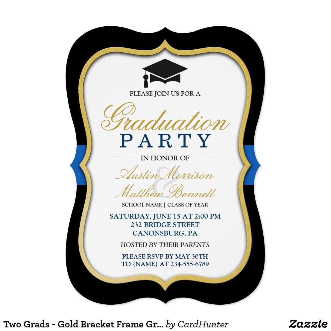 Two Grads - Gold Bracket Frame Graduation Party Card | Party invitations