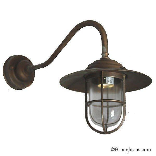 Como Swan Neck Outdoor Wall Light Antique Copper