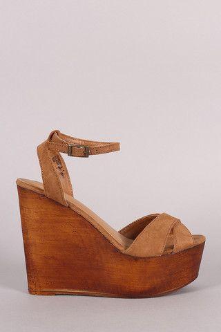 ad01042e837fe Bamboo Crisscross Ankle Strap Wooden Platform Mule Wedge