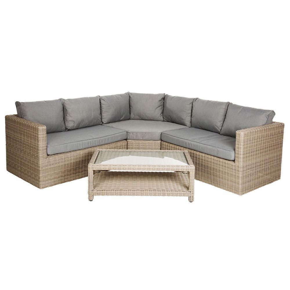 5 Seater Garden Corner Sofa Set Beige Rattan Aluminum Cushions Outdoor Furniture