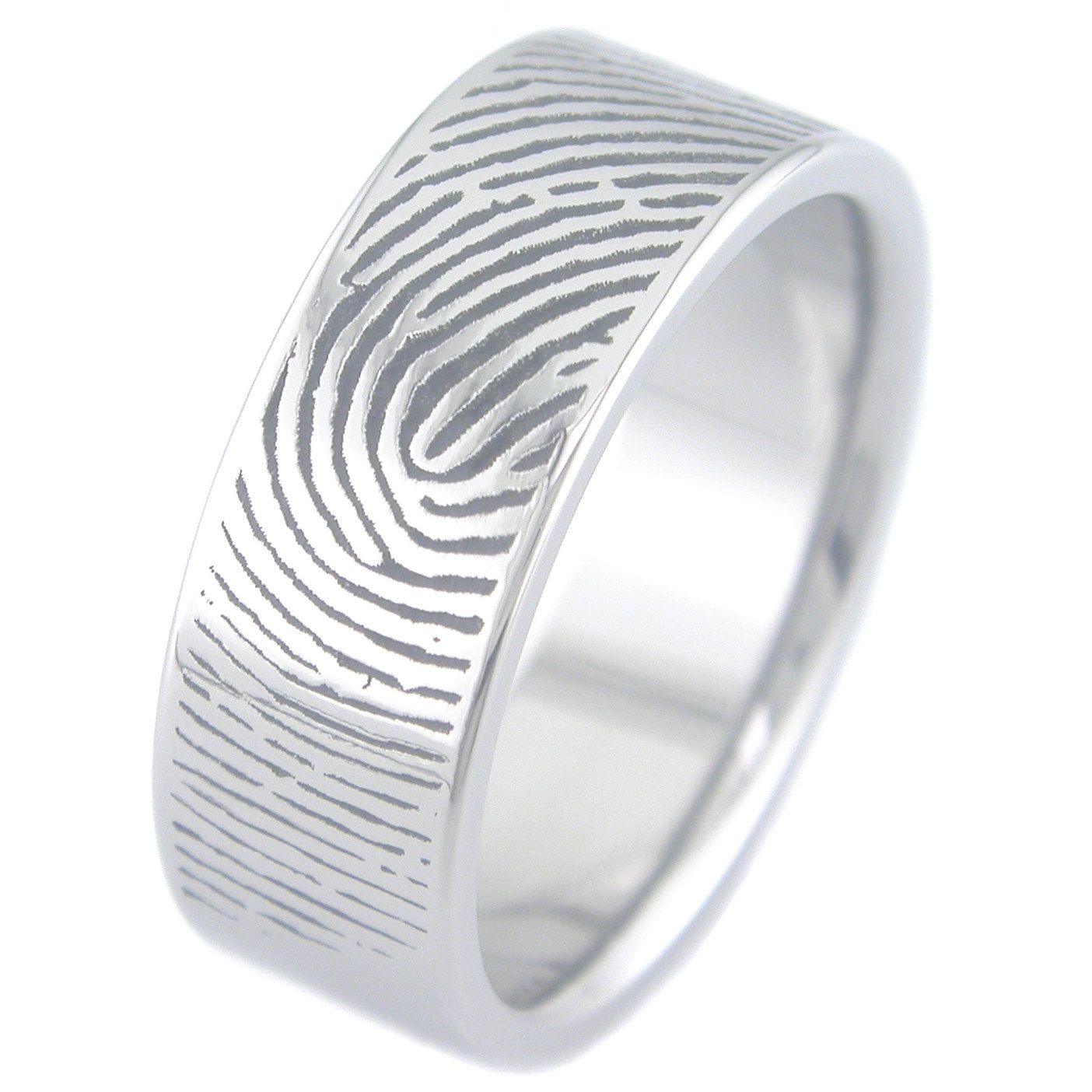 the rings wrapped wedding outside band print fingerprint pin finger mm not with custom blackened palladium on