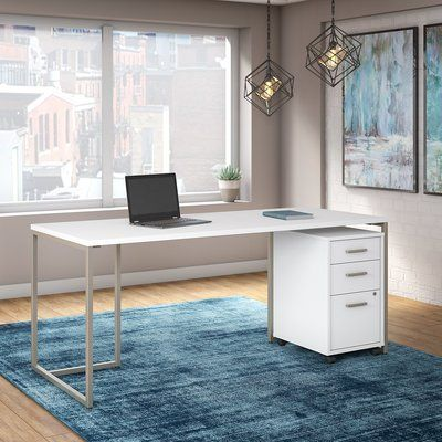 Bush Industries Office By Kathy Ireland Method Table Desk With 3 Drawer Mobile File Cabinet In