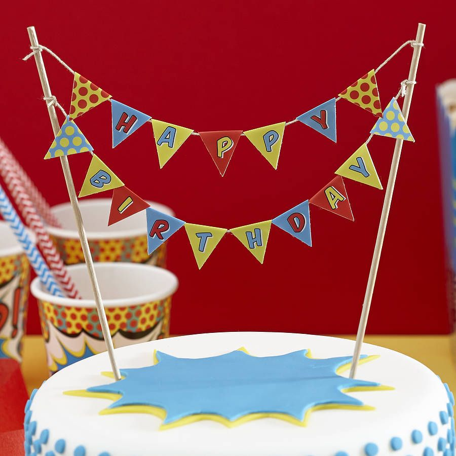 Pop Art Superhero Happy Birthday Cake Bunting Birthday cakes Cake