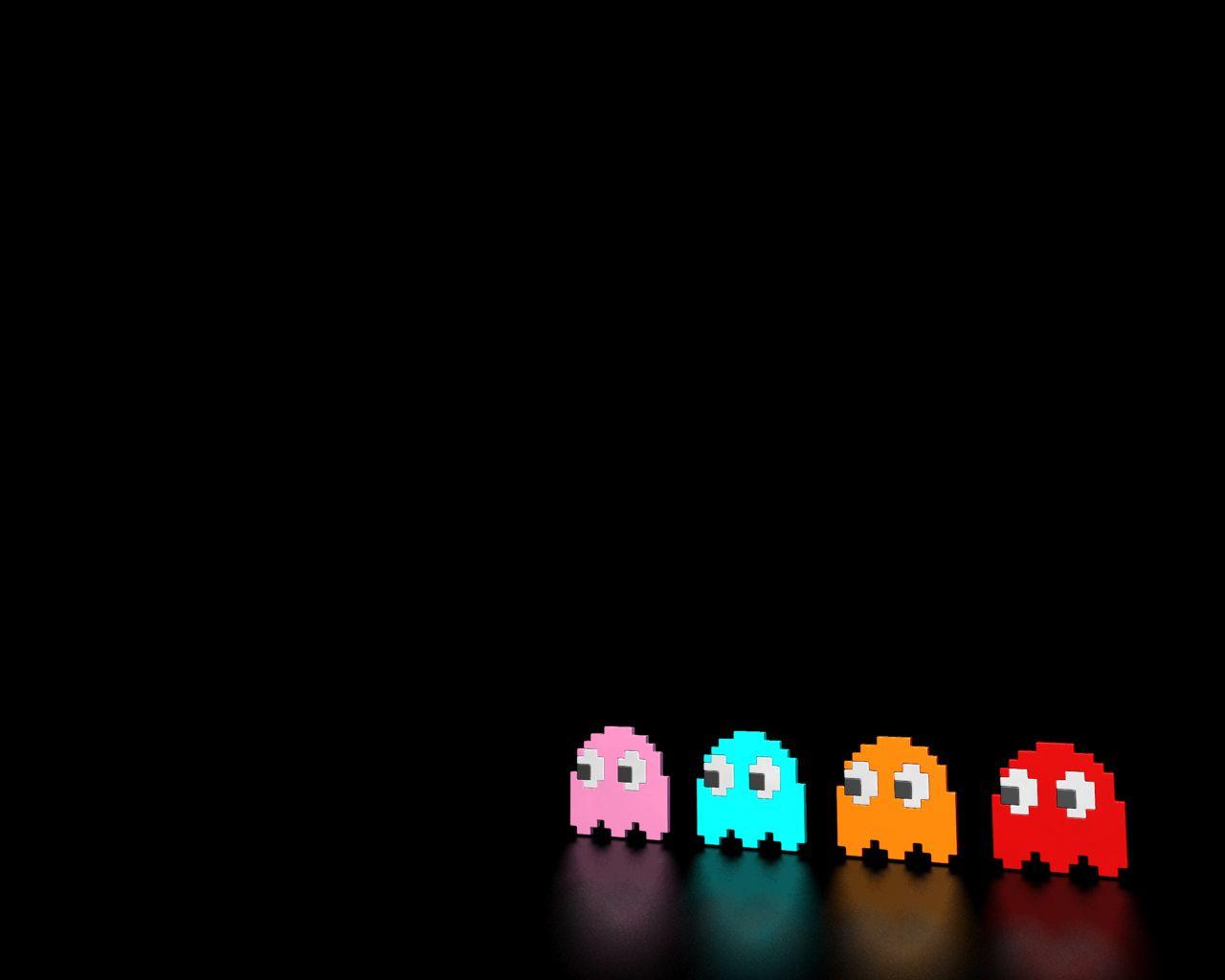 Pacman Iphone 6 Wallpaper Hd: Pacman Ghost Wallpaper Background Pink Blue Orange Red