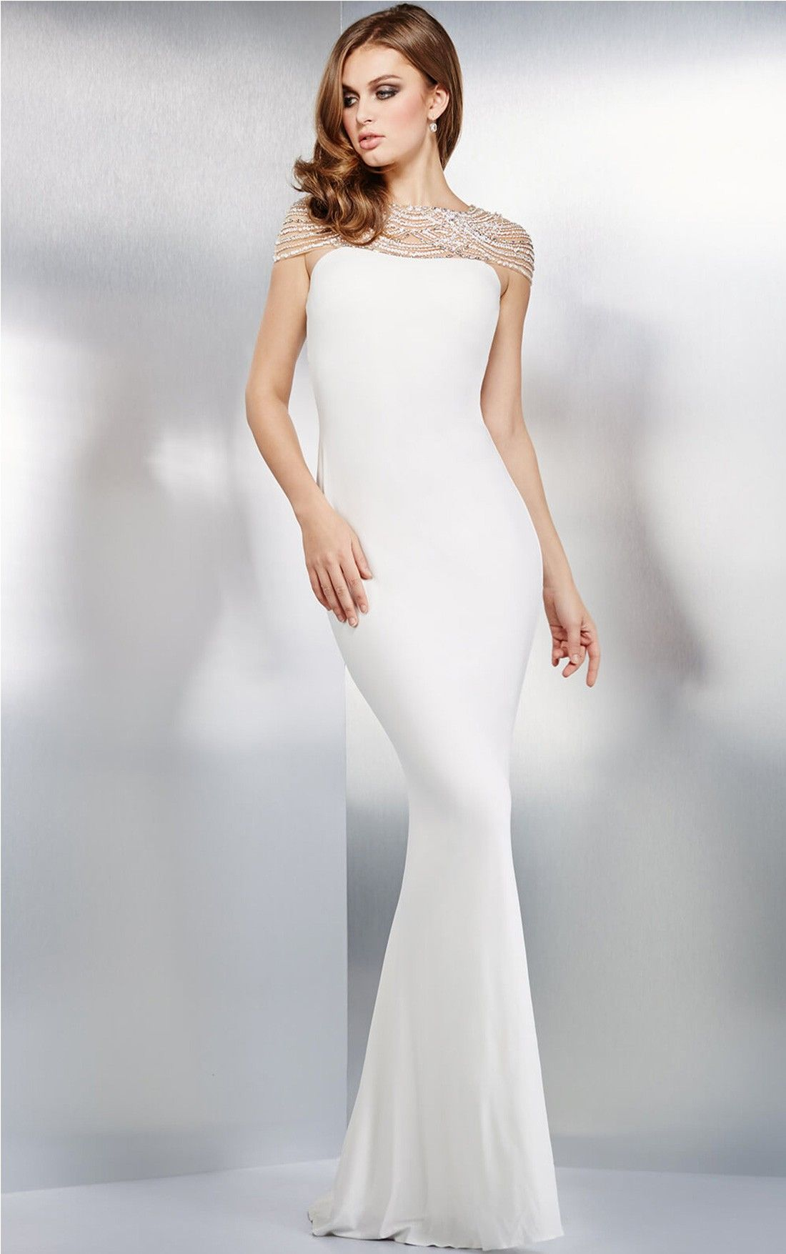 Jovani white fitted jersey dress fortune pinterest dresses