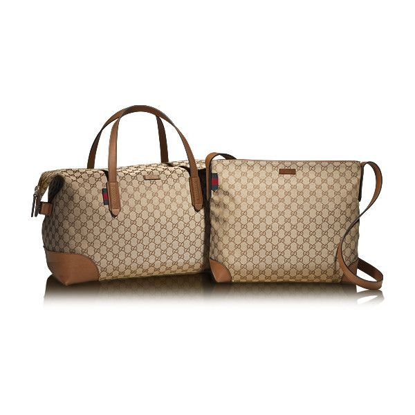 9d7b5c7f8168 Gucci Original Gg Canvas Carry-On Duffle Bag ($920) ❤ liked on Polyvore  featuring bags and luggage