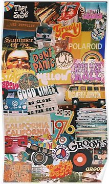 '70s vintage vibe collage' Poster by p <3