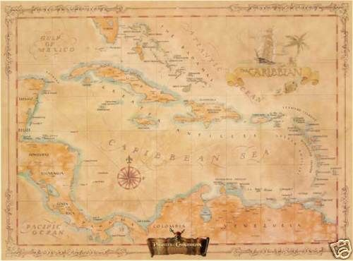 Pirates of The Caribbean Wall Map Mural and Poster | eBay | Tanners ...
