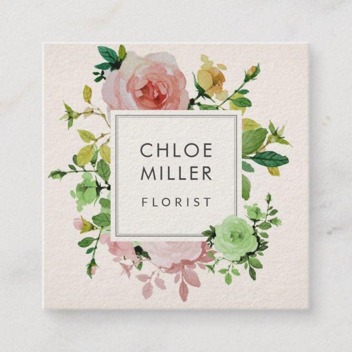 Blush Beige Vintage Floral Square Business Cards Zazzle Com Square Business Cards Florist Business Card Floral Business Cards