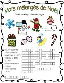 french christmas word scramble no prep decoding teacher pay teachers and activities. Black Bedroom Furniture Sets. Home Design Ideas