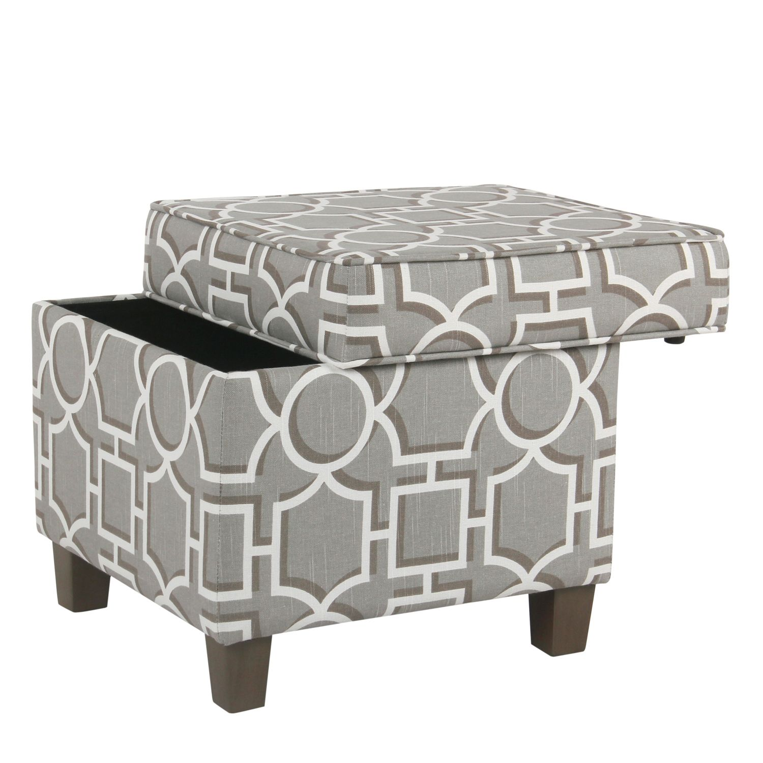 Modern Gray Lattice Square Storage Ottoman