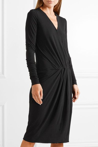 ff5efb7030802 By Malene Birger - Willos Wrap-effect Stretch-crepe Dress - Black ...